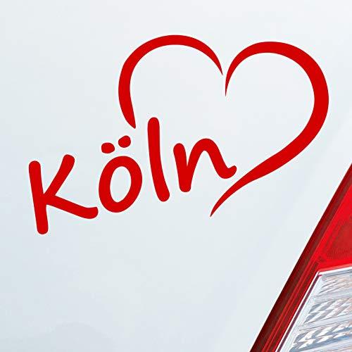 Auto Aufkleber in deiner Wunschfarbe Köln Herz Stadt City Liebe Stadt Cologne 14x8 cm Autoaufkleber Sticker