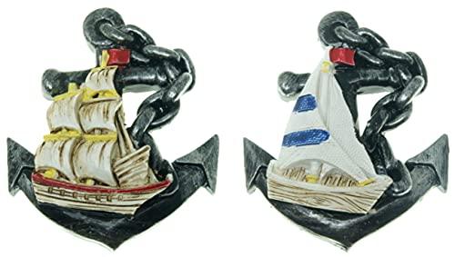 2 Paquetes Barco y Ancla Imán del refrigerador 3D Náutico Barco Etiqueta magnética Imán de refrigerador Imán de refrigerador Insignia magnética Marina Imán de refrigerador