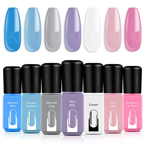 Modelones Gel Nail Polish Set, Cream Blue Purple Pink White Grey 7 Colors 6ml Gift Box LED Soak Off Nail Gel Manicure Kit