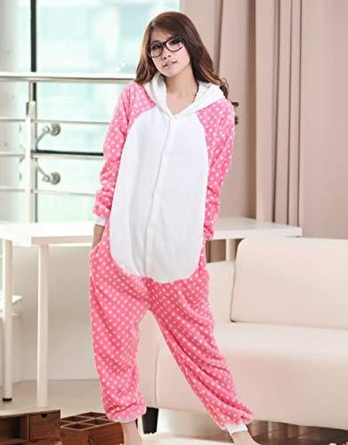 Qaoping Ropa de Dormir Pijama Vestido Rosa Mujer Juega Pijamas con ER Sombrero Traje Adulto Niños Pijamas Animales Lindos Disfraz