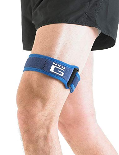 Neo G ITB Band - Knee Strap for Jumpers Knee, Tendonitis, Joint Pain, Tendon Overuse, Basketball, Running, Soccer, Tennis - Adjustable Compression Support - Class 1 Medical Device - One Size - Blue