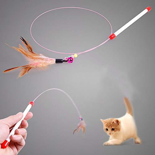 KimPets 3 Stück Katzenangel Angel Spielangel Feder Katze Spielzeug Glöckchen 90cm Länge Intelligenz Natürlich Interaktiv Glocke