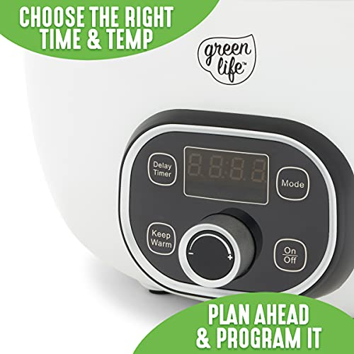 GreenLife Healthy Cook Duo White Slow Cooker, 6QT