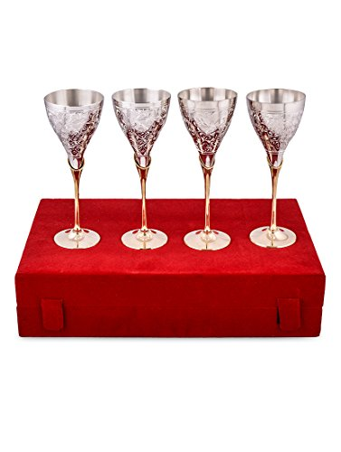 Royal silver plated princess wine glass set of 4 pcs./Diwali Gift/Anniversery Gift/Corporate Gift/Festival Gift/Weeding Gift