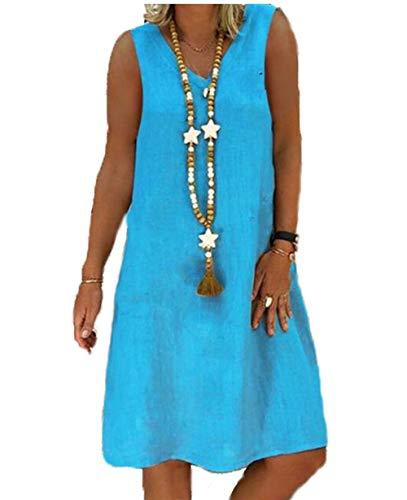 Yutila Damen Leinenkleid für den Sommer V-Ausschnitt Casual Kleid im Boho Look, B-blau, XXL(EU 44)