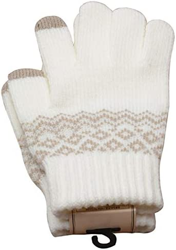Knitted Gloves Men/Woman Touch Screen Girl Female Stretch Knit Gloves Mittens Winter Warm Knitting Printing Gloves Warm Gifts - (Color: WT)