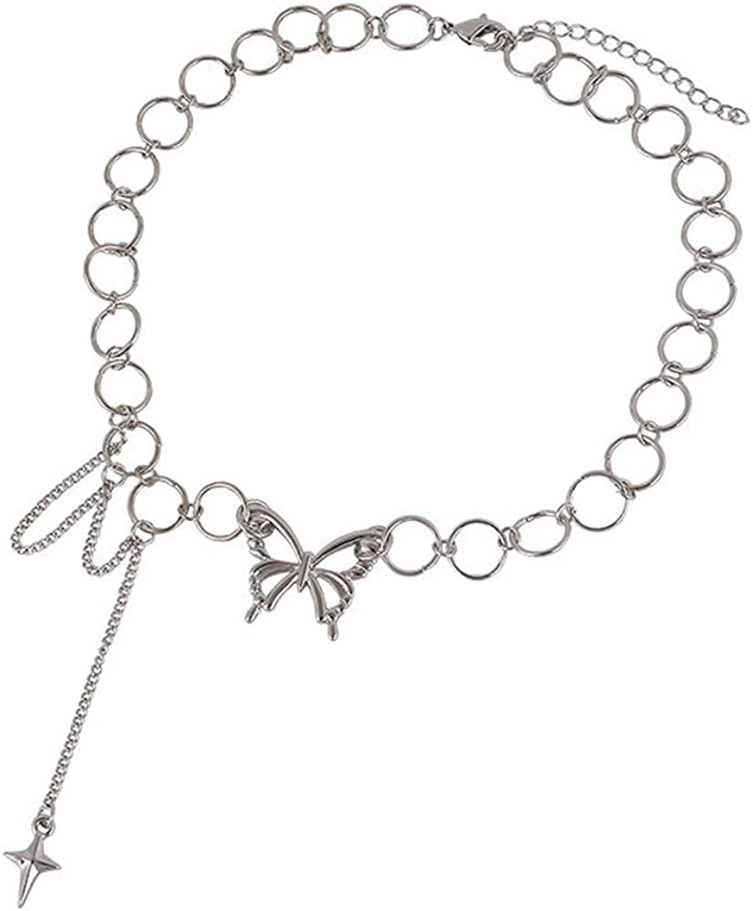 Punk Style Butterfly Choker Necklace Jewelry Women Collares Gothic Hip Hop Link Chain Necklace Collares Jewlery