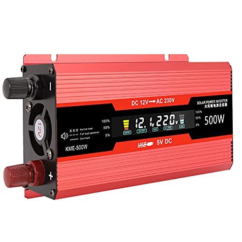 LZH FILTER 500W Inversor De Energía De Onda Sinusoidal Modificada para Automóvil Portátil, Transformador Adaptador Dc12v / 24v A Ac110v / 220v 500w, con Pantalla LCD, Accesorios De Auto