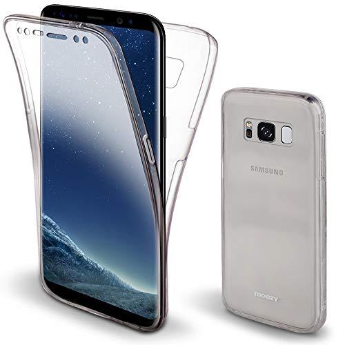 Moozy 360 Grad Hülle für Samsung S8 - Vorne & Hinten Transparenter TPU Ultra Dünn Weiche Silikon Handyhülle Hülle