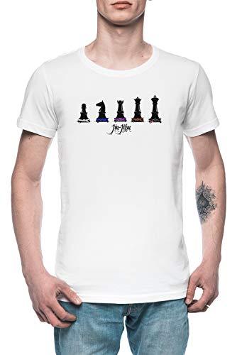 Mensch Schach Herren T-Shirt Tee Weiß Men's White T-Shirt