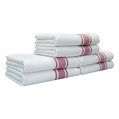 Kitchen Towels,100% Natural Cotton, 6 Pack, 27 x 17 inch, White with Red Stripe, Absorbent & Quick Dry Tea towels, Value Pack of Dish Cloth Towels by Tiny Break
