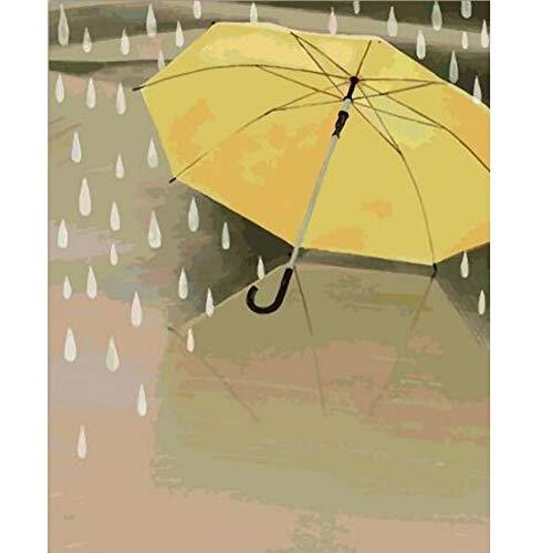 DIRART Frameless DIY Digitale Schilderij Regendruppels En Gele Paraplu Kleurplaten Door Getallen Op Canvas Hand Geschilderde Cuadros Schilderij Voor Wanddecoratie 40X50Cm
