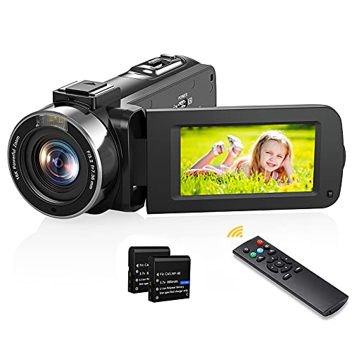 Videokamera Camcorder FHD 1080P 36 MP 16X Digital Zoom, FHD IR Nachtsicht Camcorder 3.0  IPS LCD 270 Grad drehbarer Bildschirm Digitalkamera mit Fernbedienung, Vlogging Kamera Recorder für YouTube