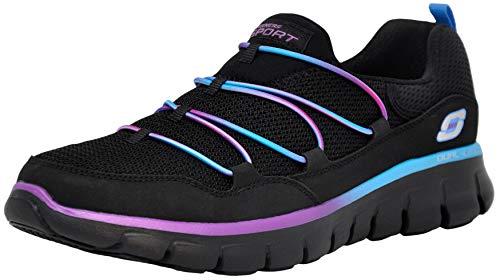 Skechers Sport Women's Loving Life Memory Foam Fashion Sneaker, Black/Purple, 8