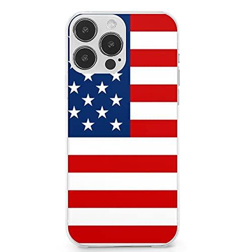 Compatible con iPhone 13 Pro Max, bandera de Estados Unidos antiarañazos, suave, linda funda protectora completa de TPU a prueba de golpes para iPhone 13 Pro Max 6.7 pulgadas (2021)