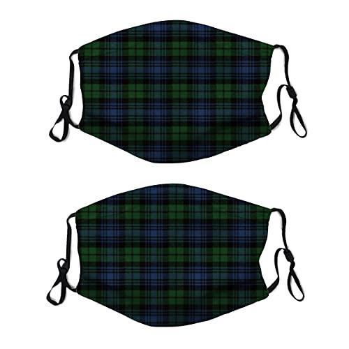 2 mascarillas de tela lavable con lazo ajustable para la oreja, reloj negro, antigüedad, original escocesa, cubrebocas, reutilizable y transpirable, pasamontañas para hombres y mujeres