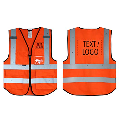 Salzmann 3M Chaleco de Seguridad Multibolsillos con Logotipo Personalizable - Chaleco de Trabajo con Estampado - Hecho con Material Reflectante 3M