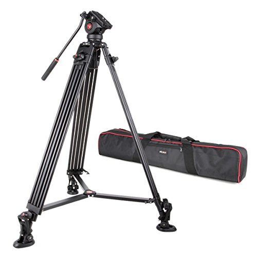 VILTROX VX-18M Professional Heavy Duty Video Camcorder Tripod with Fluid Drag Head and Quick Release Plate, 74' inch,Max Loading 10KG, with Carrying Bag,Horseshoe Shaped Bracket
