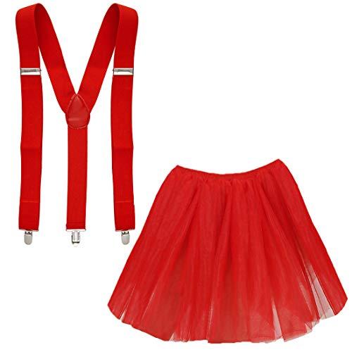 Goldschmidt Kostüme Tüllrock und Hosenträger Set Verkleidung Kostüm Karneval Petticoat Tutu (rot)