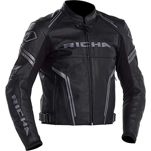 Richa Lederjacke Motorrad Monza schwarz-grau 3XL Schwarz