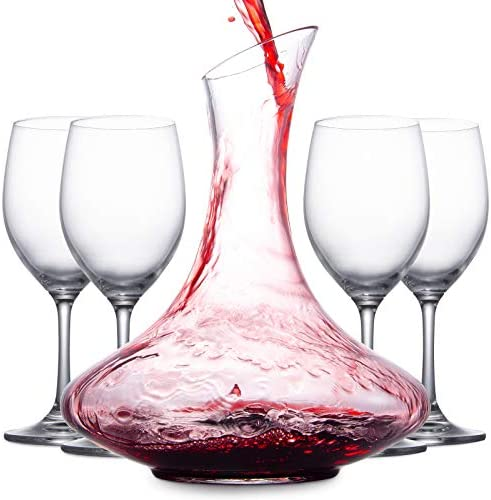 Mafiti 1 8L Wine Aerator Decanter and Carafe with 4 Red Wine Glasses Gifts for Women Men Wine product image
