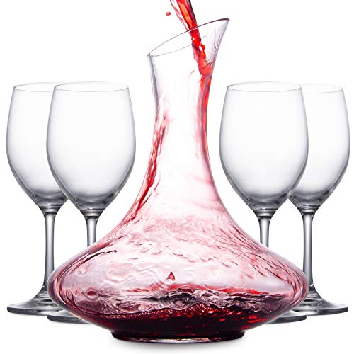 Mafiti Decanter per vino con 4 calici inclusi
