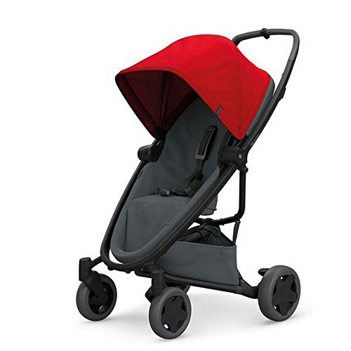 Quinny ZAPP FLEX PLUS 'Red on Graphite' - Cochecito urbano, flexible y ultracompacto, asiento reclinable bidireccional, de 6 meses a 3.5 años, color rojo y grafito