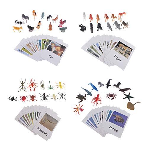 CUTICATE 96-TLG Kinder Montessori Lernspiel Tierfiguren Spielzeugfiguren mit Fotokarten Wortschatz-Lernkarten Set