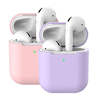 Molylove Compatible with AirPods Case Cover Skins, 2X Case for Airpods Case Cover Silicone Case Protective Shockproof [Front LED Visible][Support Wireless Charging](AirPods 2, Light Purple+Pink) from Molylove