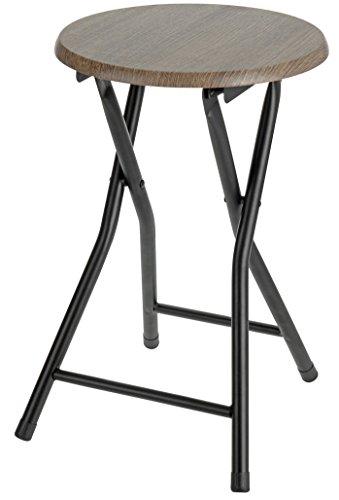 Spetebo Klapphocker aus Holz - Klappstuhl, Sitzhocker in schwarz/Natur - Metall Hocker mit runder Holz Sitzfläche