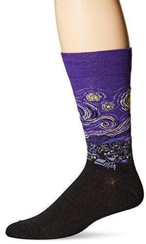Hot Sox Men's Famous Artist Series Novelty Crew Socks, Starry Night (Purple), Shoe Size: 6-12