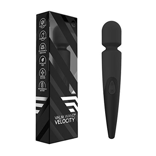 Lush Velocity Massage Wand - Waterproof, Wireless, Powerful Vibration - Personal Therapeutic Massager (Slate), Large