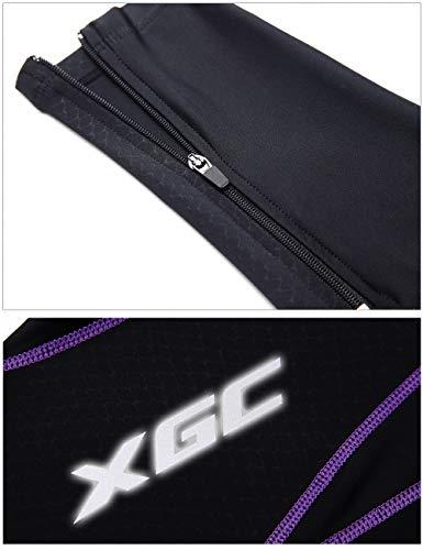 XGC Damen Lange Radlerhose Fahrradhose Radhose Radsportshorts für Frauen Elastische Atmungsaktive 4D Schwamm Sitzpolster mit Einer Hohen Dichte (Violet, L) - 4