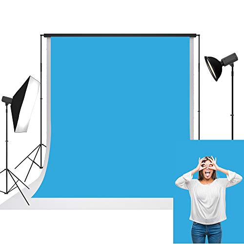 UrcTepics 5x7ft Microfiber Blue Photography Backdrop for Photographers Pure Solid Blue Simple Background for Birthday Baby Portrait Shoot Background Studio Prop