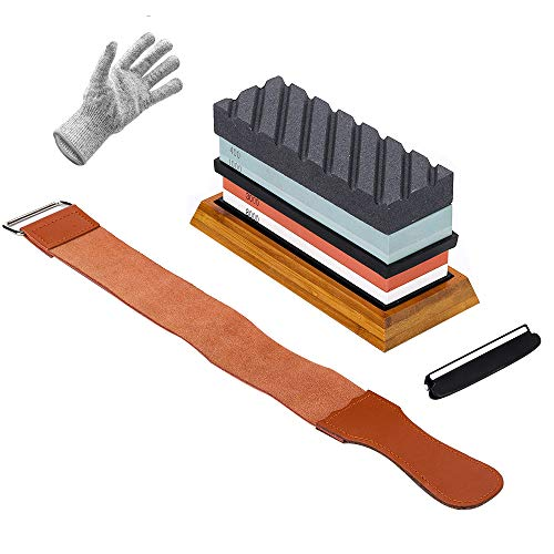 Knife Sharpening Stone Kit(Whetstone): 3000/8000 2 Sided Grit Knife Sharpener Stone and 400/1000 Grit Wet Stone Set, Flattening Stone, Angle Guide,Leather Strop and Gloves