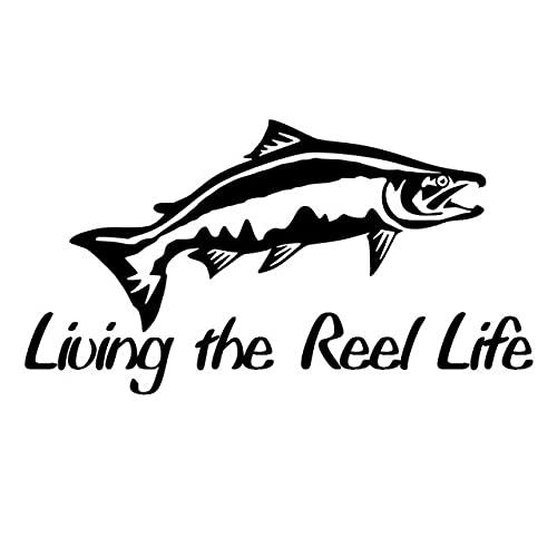 A/X 16,8 CM * 9,1 CM viviendo la Vida del Carrete Trucha Pesca Coche Pegatina Vinilo Divertido calcomanía Negro/Plata C24-0852Negro