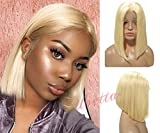 Blonde Wig Short Bob Human Hair Pre Plucked 613 Lace Front Wig Glueless 13x4 Lace Bob Straight Wig Brazilian Virgin Hair Middle Part with Baby Hair for Black Women 180% Density Full Head Wig 8'