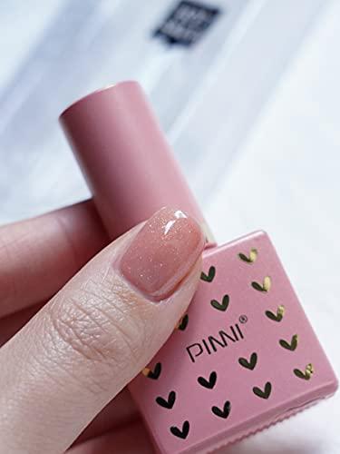 PINNI Esmalte de uñas de gel rosa sirena, brillo nacarado dorado, edición limitada personalizada especial, curado UV LED semipermanente para manicura, manicura francesa, 12ml