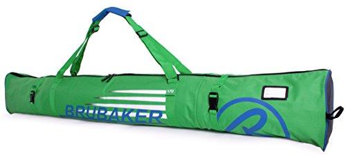 Brubaker Skitasche Carver Champion gepolsterter Skisack für 1 Paar Ski und Stöcke 170 cm Grün Blau