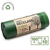 Relevo 100% Reciclado Bolsas de Basura, extra resistentes 100 L, 10 bolsas