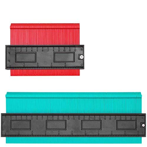 型取りゲージ コンターゲージ 測定ゲージ 120mm/250mm 2点セット-曲線定規 DIY用測定工具 多機能 輪郭コピー 角度測定 ロファイルゲージ 不規則な測定器 ABS目盛付き