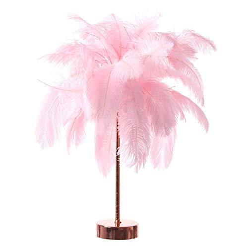 Moderna Lámpara de Mesa Lámpara de mesa de plumas rosa LED Control remoto de plumas Luz de hierro Metal Base Noche Luz de cobre Alambre Romántico 3 Modos Dormitorio de la cama de la cama LED Luz Mesit