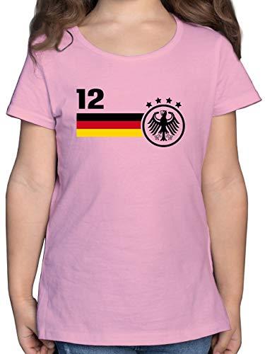 Fußball-Europameisterschaft 2020 Kinder - 12. Mann Deutschland Mannschaft WM - 128 (7/8 Jahre) - Rosa - wm 2018 Kinder - F131K - Mädchen Kinder T-Shirt