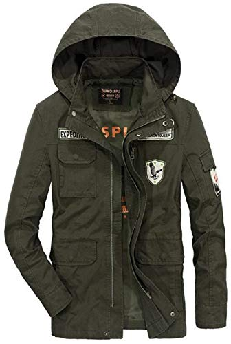 Saoye Fashion Herren Baumwolle Leichte Kapuze Feld Jacke Luftwaffe Mantel Kleidung Mit Patches Men's Military Hooded Bomber Coat (Color : Armee-grün, Size : M)