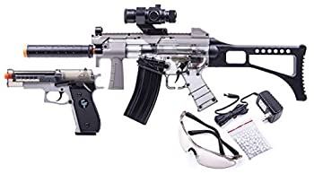 GAME FACE GFRPKTGS Ghost Affliction Full-Auto Airsoft BB Rifle And Spring-Powered Pistol Kit With Safety Glasses And BB s  Grey/Smoke