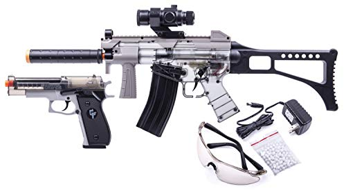 GameFace GFRPKTGS Ghost Affliction Full-Auto Airsoft BB Rifle And Spring-Powered Pistol Kit With Safety Glasses And BB's, (Grey/Smoke)