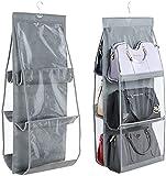 INHEMI Handtaschen Organizer, Hängend Handtaschen Aufbewahrung mit 6 Taschen,Vliesstoff, Transparentes Fenster, Aufbewahrungstasche, Hängeorganizer - Grau