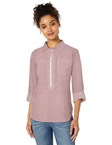 Tommy Hilfiger Damen Half Zip Popover Shirt Hemd, Crimson Multi, Mittel
