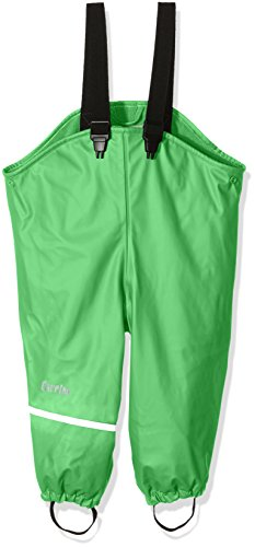 CareTec Kinder wasserdichte Regenlatzhose mit Fleecefutter (verschiedene Farben), Grün (Green 974), 104