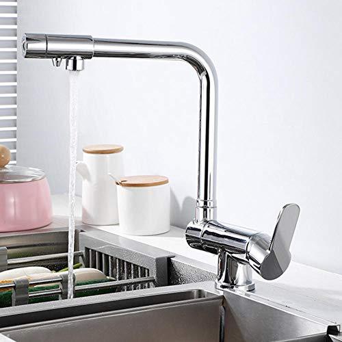 Grifo Cocina 3 Vias Abatible Latón Caliente y Fría Agua Recta Agua Pura Grifo Fregadero Cocina Rotación de 360° Filtración Grifos de Cocina Cromado-B